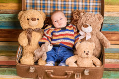 Child and teddy bears. Stock Photography