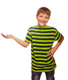 Child teenager boy blond open hand palm isolated. On white background stock photos