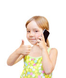 The Child and telephone Stock Photo