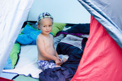 Child in a tent Stock Photography