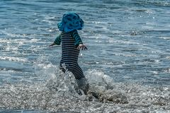 Child's Surprise Wave royalty free stock image