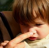 Child thinking. What´s this? Two year old child concentrating for an answer, while  mom´s forefinger touches his little nose. Fit for analysis,analyze,new Stock Image