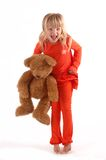 Child throwing a tantrum. Child with a teddy bear throwing a tantrum stock photos