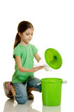 Child throws the paper royalty free stock photos