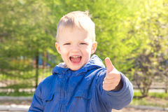 Child thumb up. Happy smiling joyful beautiful child (little boy) outdoor in green spring park (garden) thumb up gesturing (ok). Sunny close up portrait Royalty Free Stock Photos