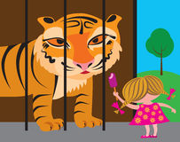 Child and tiger at the zoo Stock Photo