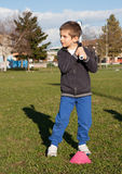 Child to the park play baselall Royalty Free Stock Photography