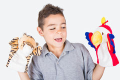 Child to play with hand puppets Stock Photography