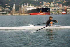 Child to rowing course Royalty Free Stock Image