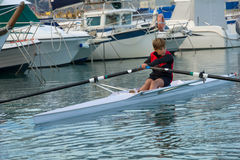 Child to rowing course Stock Photography