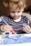 Child, Toddler Drawing Art. Toddler boy, child, drawing, finger painting, making art Royalty Free Stock Photo