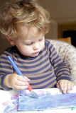 Child, Toddler Drawing Art. Toddler boy, child, drawing, finger painting, making art Royalty Free Stock Photography