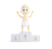 Child took first place on the podium. On white background Royalty Free Stock Photo
