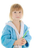 Child with toothbrush. Cheerful child with a toothbrush on white background Royalty Free Stock Photography