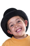Child with a top hat. On a white background Royalty Free Stock Photo