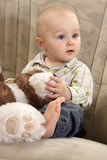 The child with a toy. The child with amazed face is sitting on a couch and playing with teddy bear Stock Photos