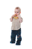 Child with a toy. The child with a toy on a white background Stock Image