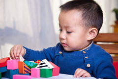 Child and toy blocks Royalty Free Stock Image