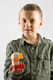 Child with toy building blocks Stock Images