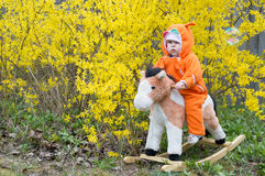 Child on a toy horse Royalty Free Stock Photos