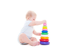 Child with toy over white Stock Photography