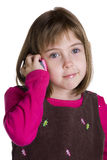 Child with a toy telephone Royalty Free Stock Image