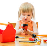 Child with toy tools Royalty Free Stock Photography