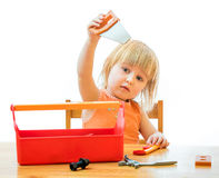 Child with toy tools Stock Images