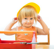 Child with toy tools Royalty Free Stock Image