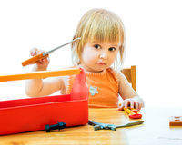 Child with toy tools Stock Image