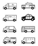 Child Toy Vehicles outline. Cartoon vector outline illustration of Child Toy Vehicles Stock Photo