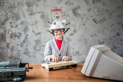 Child with toy virtual reality headset Stock Photos