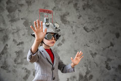 Child with toy virtual reality headset Royalty Free Stock Photography