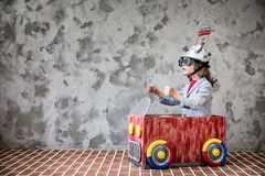 Child with toy virtual reality headset Stock Images