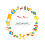 Child Toys Banner Card Circle Vector. Child Toys Color Banner Card Circle for Play and Education Baby. Vector illustration Royalty Free Stock Photo