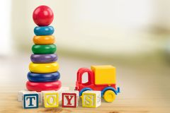 Child Toys. Christmas Play Block Puzzle Playing Education Stock Photo