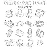 Child toys icons set, outline style Royalty Free Stock Image