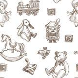 Child toys rabbit and fluffy plush bear seamless pattern royalty free illustration