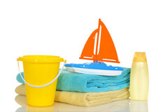 Child toys and towels ready for beach Royalty Free Stock Photos