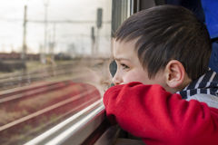 Child on train Royalty Free Stock Photo
