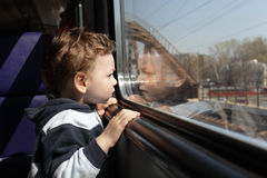 Child in train Stock Photos