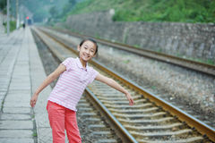 Child in the train station Royalty Free Stock Photography