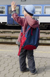 Child at train station Royalty Free Stock Image
