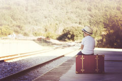Child in train station Royalty Free Stock Photo