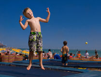 Child on a trampoline. Stock Image