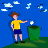 Child with trash. The image of a child who throws the paper into a basket, could be used as the logo for keeping a clean area, generally well suited to the Vector Illustration