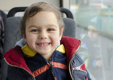 Child traveling by bus Stock Photo