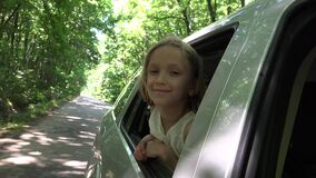 Child Traveling by Car, Kid Face Looking Out the Window, Girl Admiring Nature