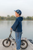 Child traveling on the river Royalty Free Stock Photography