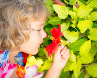 Child with tropic flower Royalty Free Stock Photography